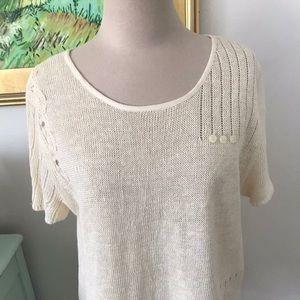 J JILL Linen Short Sleeve Sweater Size L Yellow